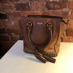 Coach Legacy Studded Mini Saddle Brown Bag